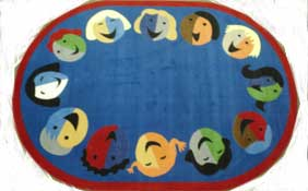 Joyful Faces Oval Area Rug