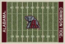 University of Alabama Football Field Sports Rug Crimson Tide