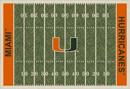 University of Miami Hurricanes Football Field Area Rug